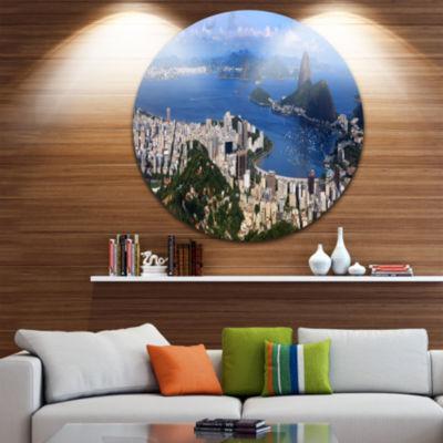 Design Art Rio De Janeiro Panorama Landscape RoundCircle Metal Wall Art