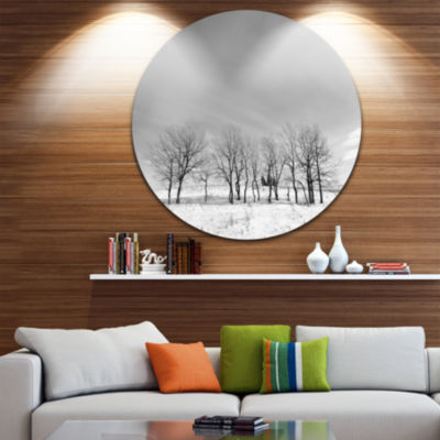 Design Art Black and White Trees in Winter Landscape Round Circle Metal Wall Art