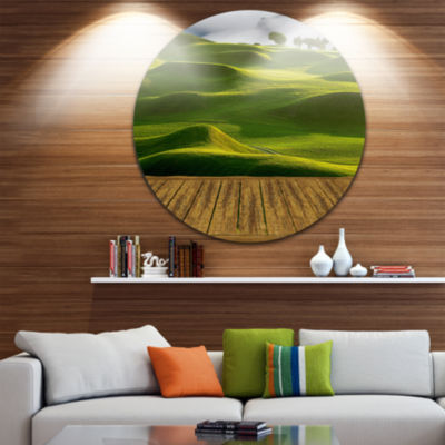 Design Art Golf Course with Wooden Path LandscapeRound Circle Metal Wall Art
