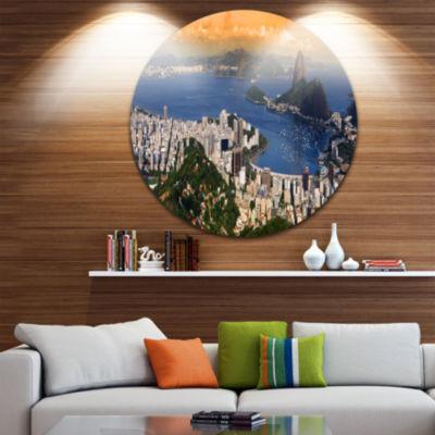 Design Art Rio Landscape Panorama Landscape RoundCircle Metal Wall Art
