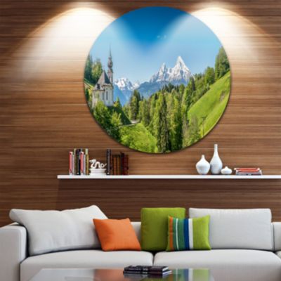 Design Art Green Mountain View of Bavarian Alps Landscape Round Circle Metal Wall Art