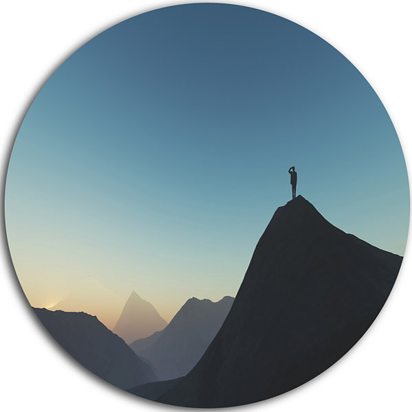 Design Art Man Looking from Mountain Landscape Round Circle Metal Wall Art