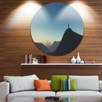 Design Art Man Looking from Mountain Landscape Round Circle Metal Wall Art