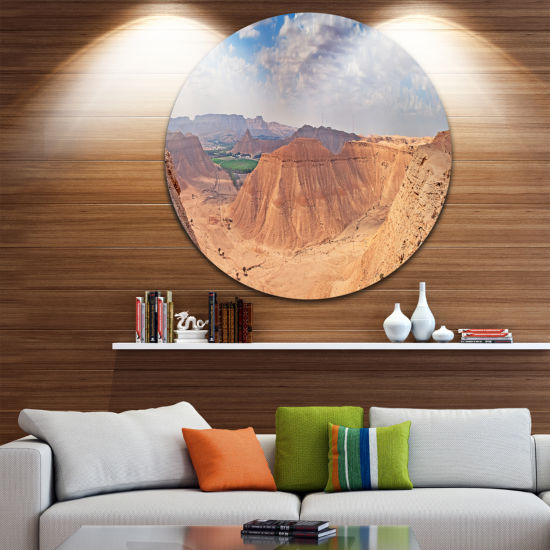 Design Art Clay Rocks around Riyadh City LandscapeRound Circle Metal Wall Art