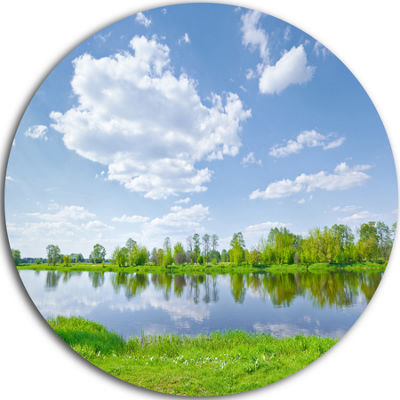 Design Art Sunny Spring by Narew River Landscape Round Circle Metal Wall Art
