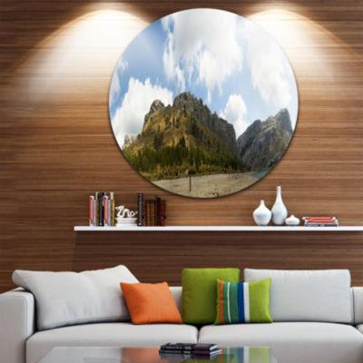 Design Art Lake and Clouds Panorama Landscape Round Circle Metal Wall Art