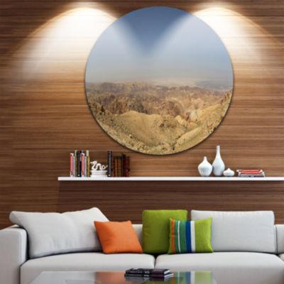 Design Art Panorama Desert Hills Jordan LandscapeRound Circle Metal Wall Art