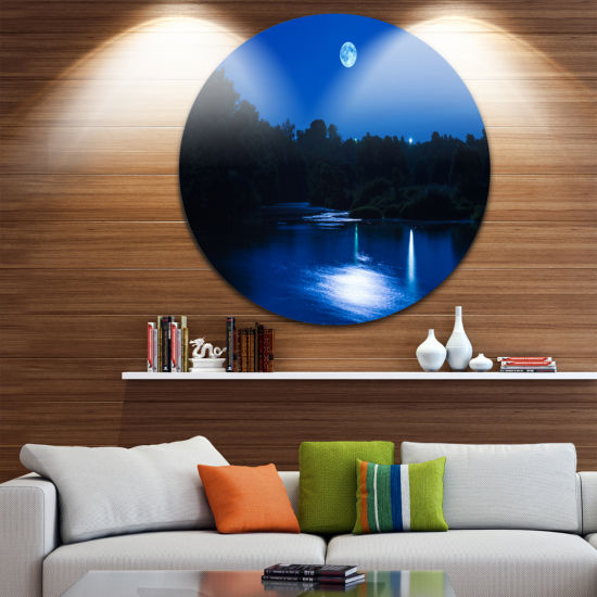 Design Art River at Night with Fog Landscape RoundCircle Metal Wall Art