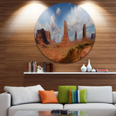 Design Art Monument Valley Mountains Landscape Round Circle Metal Wall Art