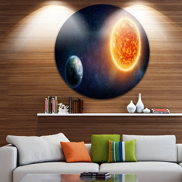 Design Art Planet Earth and Sun Landscape Round Circle Metal Wall Art