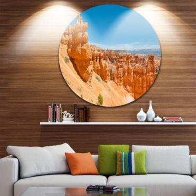 Design Art Beautiful Bryce Canyon Landscape RoundCircle Metal Wall Art