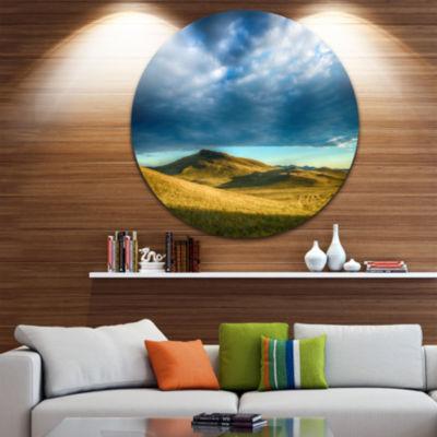Design Art Green Landscape under Cloudy Sky Landscape Round Circle Metal Wall Art