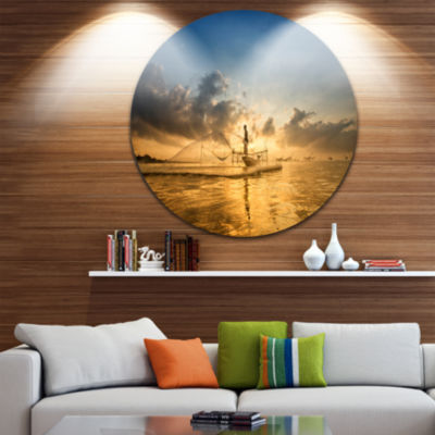 Design Art Pakpra with Fisherman at Sunrise Landscape Round Circle Metal Wall Art