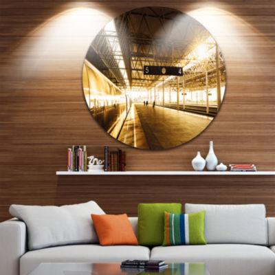 Design Art Train at Railway Station with SunlightLandscape Round Circle Metal Wall Art