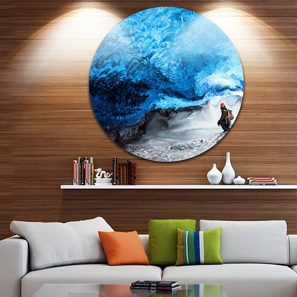 Design Art Glacier Ice Cave of Iceland Landscape Round Circle Metal Wall Art