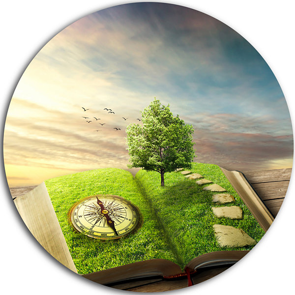 Design Art Book of Life with Greenery Landscape Round Circle Metal ...