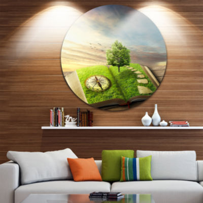 Design Art Book of Life with Greenery Landscape Round Circle Metal Wall Art