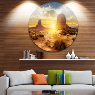 Design Art Monument Valley at Sunset Landscape Round Circle Metal Wall Art