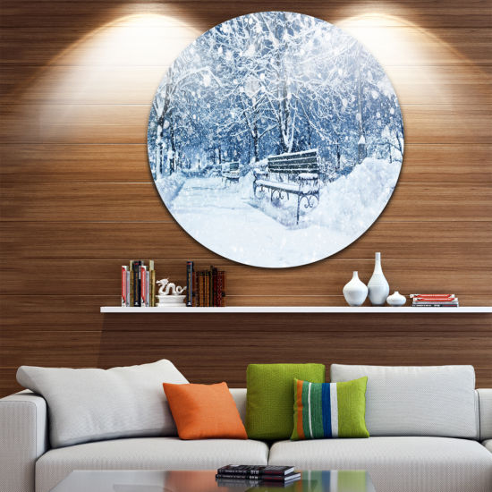 Design Art City Covered with Snow Landscape RoundCircle Metal Wall Art