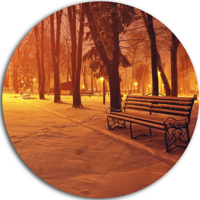 Design Art Snow Covered Benches in Evening Landscape Round Circle Metal Wall Art