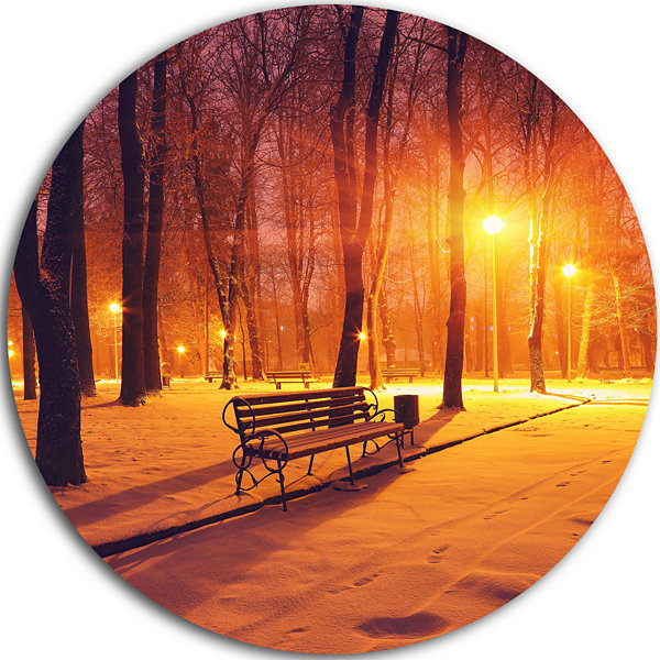 Design Art Benches Covered in Winter Snow Landscape Round Circle Metal Wall Art