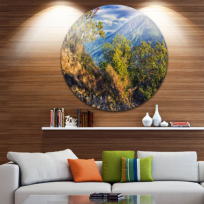 Design Art Merbabu Volcano in Java Landscape RoundCircle Metal Wall Art