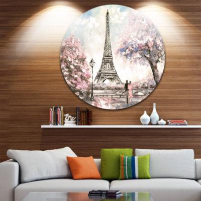 Design Art Eiffel with Pink Flowers Landscape Round Circle Metal Wall Art