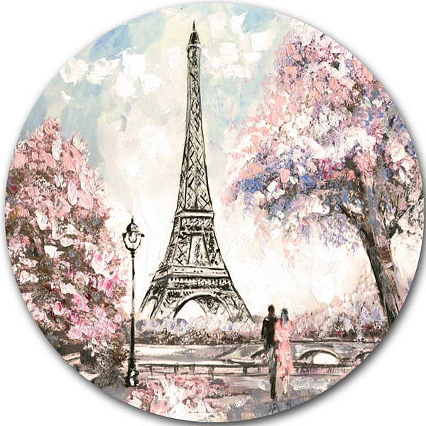 Design Art Eiffel with Pink Flowers Landscape Round Circle Metal Wall Art