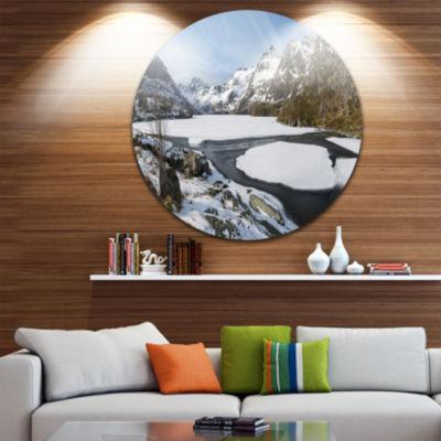 Design Art Winter in Lofoten Islands Landscape Round Circle Metal Wall Art