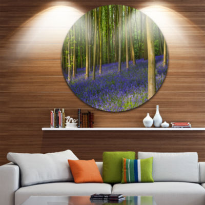 Design Art Bluebell Woods in Oxfordshire LandscapeRound Circle Metal Wall Art