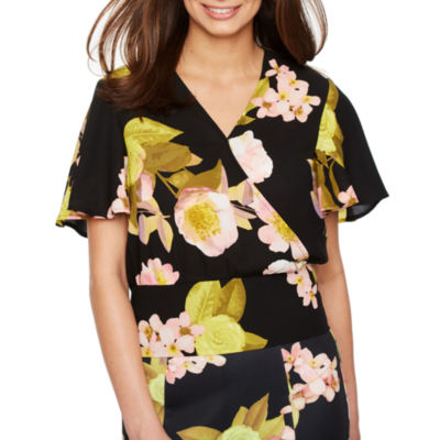 Bold Elements Short Sleeve Floral Cross Over Top