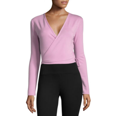 Xersion Long Sleeve Wrap Tie Front Tee