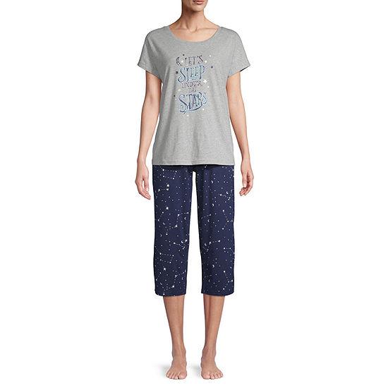 Be Yourself Womens Short Sleeve Round Neck  2-pc Capri Pajama Set