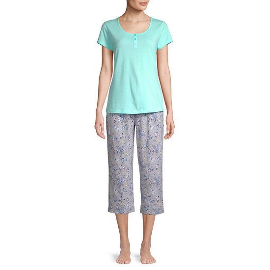 Be Yourself Womens Short Sleeve Round Neck 3-pc. Capri Pajama Set