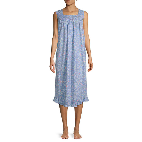Adonna Womens Poplin Sleeveless Nightgown
