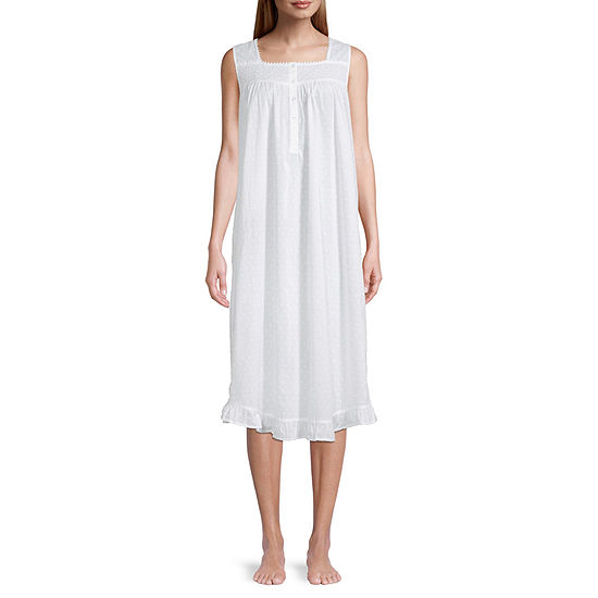 Adonna Womens Petite Poplin Nightgown Sleeveless