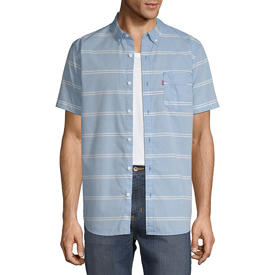 Levi's Mens Short Sleeve Striped Button-Front Shirt