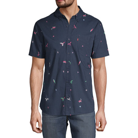 Levi's Mens Short Sleeve Button-Down Shirt, Small , Blue