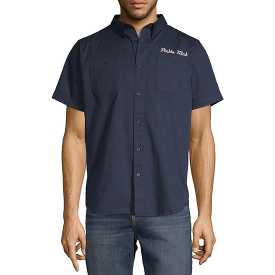 Mens Short Sleeve Button-Front Shirt