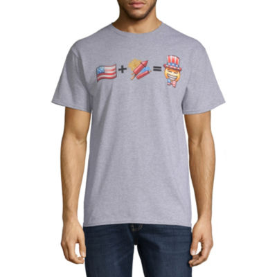 Mens Crew Neck Short Sleeve Americana Graphic T-Shirt