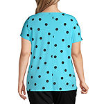 Worthington Womens ITY Short Sleeve Dolman - Plus