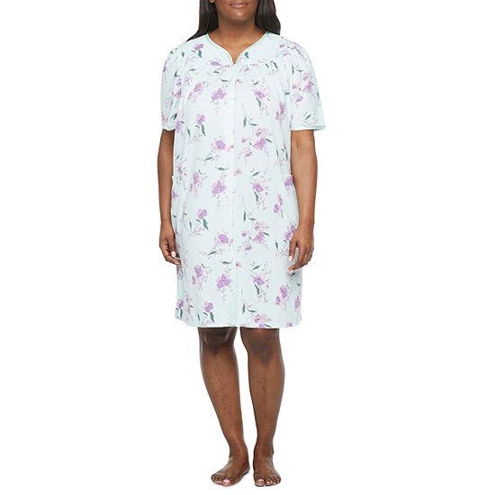 Adonna Womens-Plus Robe Short Sleeve Knee Length