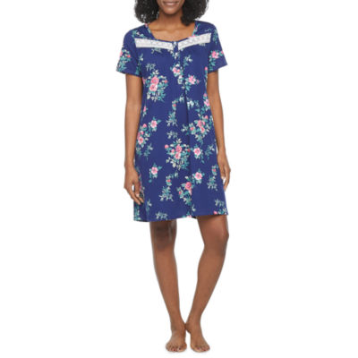 Adonna Womens Petite Knit Nightgown Short Sleeve Square Neck
