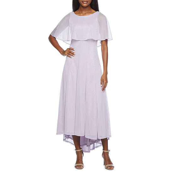 J Taylor Short Sleeve Cape High-Low Evening Gown