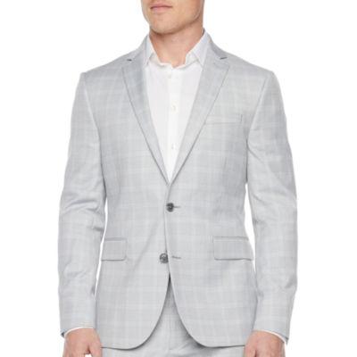 JF J.Ferrar Ultra Comfort Mens Plaid Stretch Slim Fit Suit Jacket