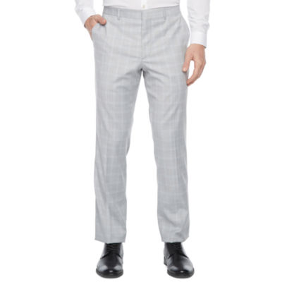 JF J.Ferrar Ultra Comfort Mens Plaid Stretch Slim Fit Suit Pants