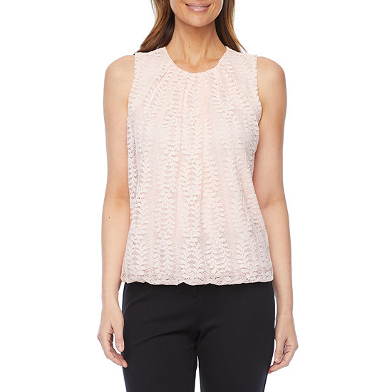 Liz Claiborne Womens Crew Neck Sleeveless Knit Blouse