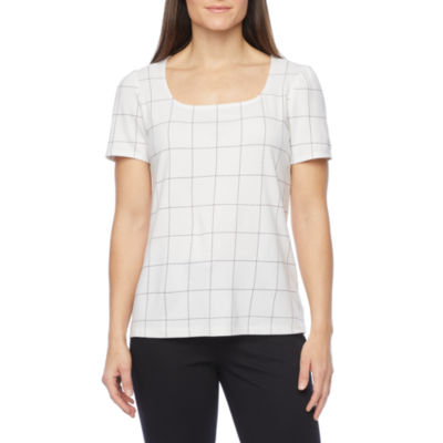 Liz Claiborne Womens Square Neck Short Sleeve Ponte Blouse