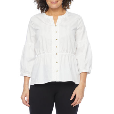 Liz Claiborne Womens Henley Neck 3/4 Sleeve Blouse