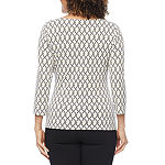 Liz Claiborne Womens Boat Neck 3/4 Sleeve Embellished Blouse
